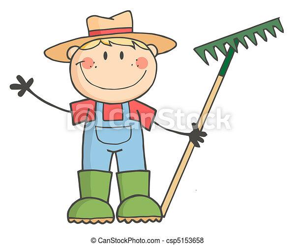 소년, 코카서스 사람, 농부 - csp5153658