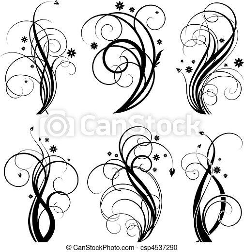 소용돌이, 검정, 디자인 - csp4537290