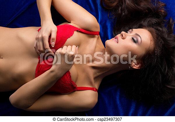 속옷, 정상, 모델, 열렬하다, 있는 것, 보이는 상태 - csp23497307