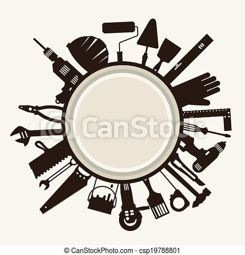 수선, 일, icons., 해석, 삽화, 도구 - csp19788801