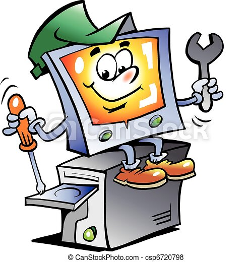 수선, 컴퓨터, 마스코트 - csp6720798