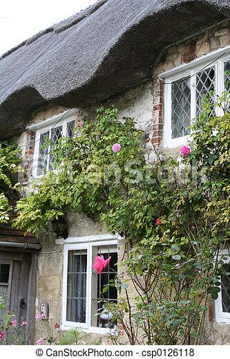 시골집, 지붕을 짚으로 이는 - csp0126118