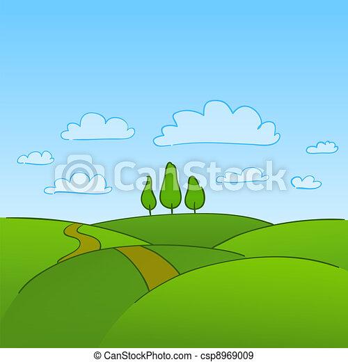 시골, 녹색의 나무 - csp8969009