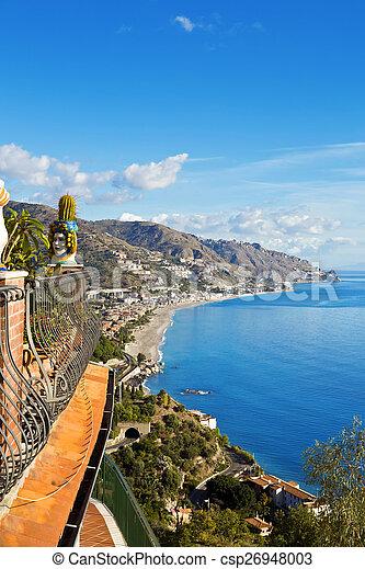 시실리, taormina, 해안선, 이탈리아 - csp26948003