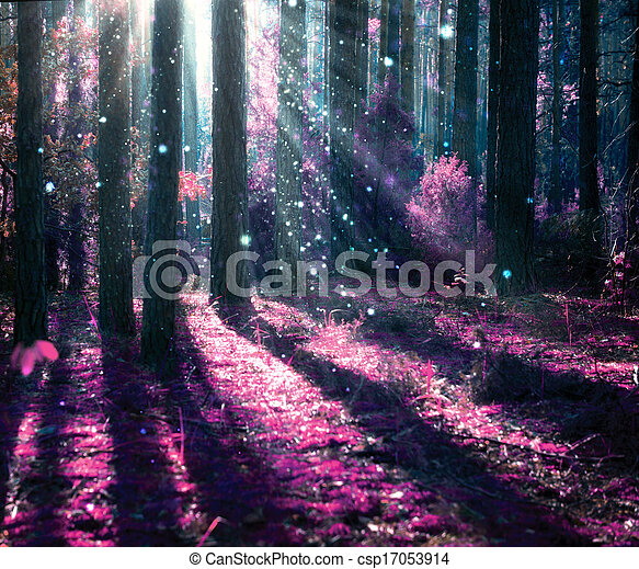 신비적인, 공상, 늙은, 숲, 조경. - csp17053914