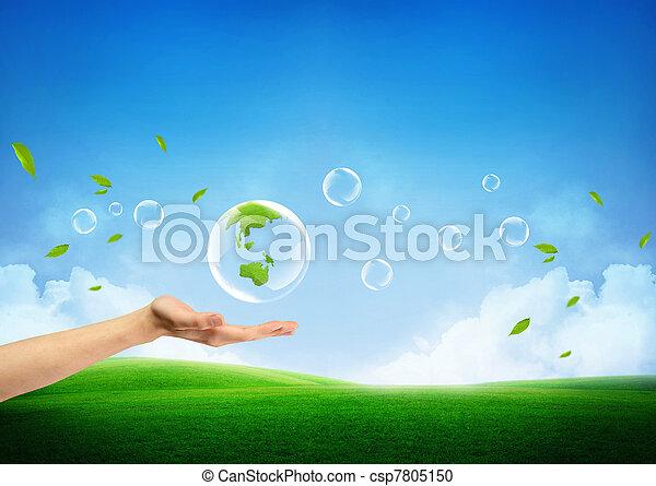 신선한, 개념, 녹색의 지구, 새로운 - csp7805150