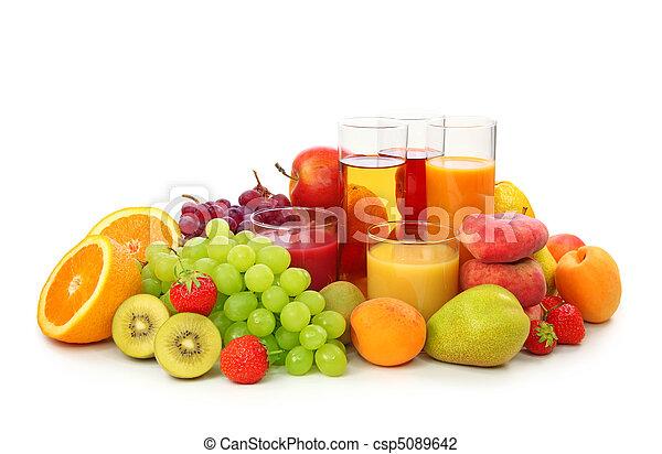 신선한 과일, 주스 - csp5089642