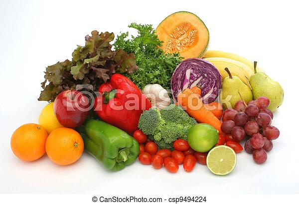 신선한 야채, 그룹, 다채로운, 과일 - csp9494224