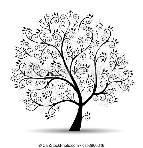 실루엣, 예술, 나무, 아름다운, 검정 - csp3960846