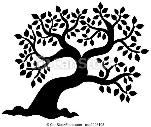 실루엣, 잎이 많은 나무 - csp2003108