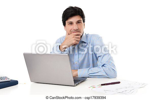 실업가, 휴대용 컴퓨터 - csp17939394