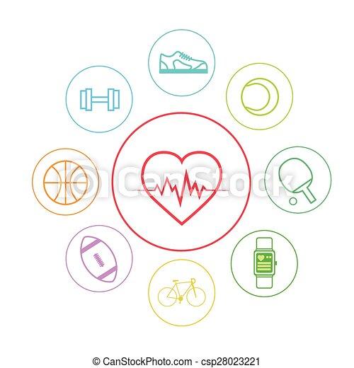 심장, 세트, 다채로운, 아이콘, 단일의, app, 얇은, 적당, 선, 스포츠 - csp28023221