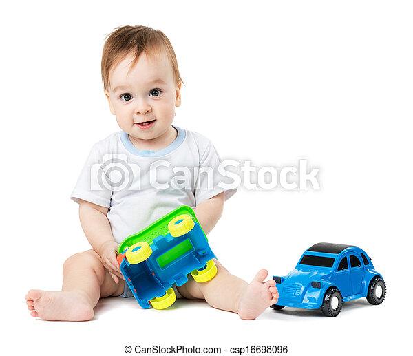 아기, 차, 장난감, 노는 것 - csp16698096