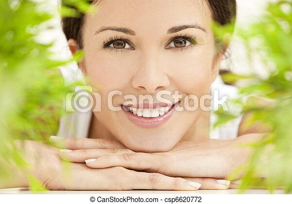 아름다운, 개념, 제자리표, 여자, 건강, 미소 - csp6620772