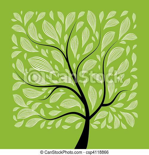 아름다운, 나무, 디자인, 예술, 너의 - csp4118866