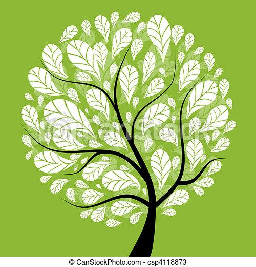 아름다운, 나무, 디자인, 예술, 너의 - csp4118873