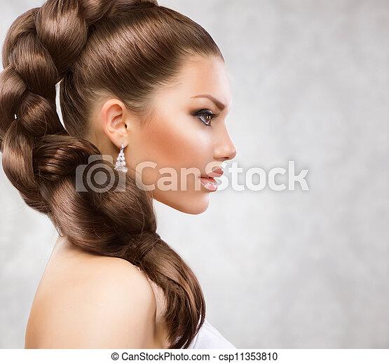 아름다운, 머리, 길게 - csp11353810