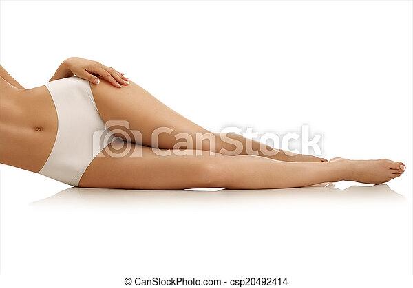 아름다운, 바닥, 전시, 클로우즈업, 소녀, 다리, 있는 것 - csp20492414