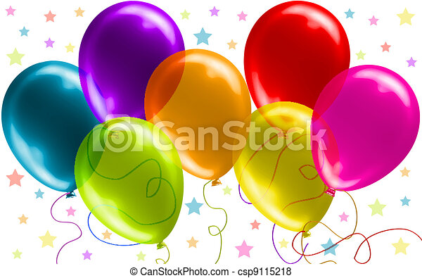 아름다운, 생일, 기구 - csp9115218
