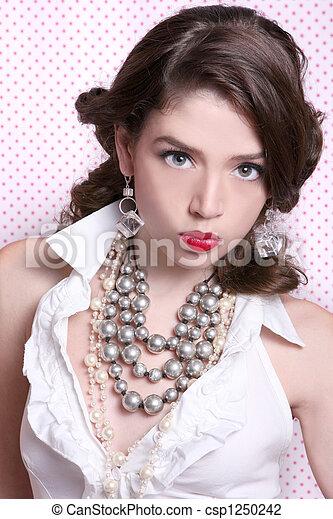 아름다운, 스타일, 여자, 몸치장을 한다, retro, 포도 수확 - csp1250242