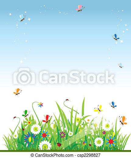 아름다운, 여름, 목초지 - csp2298827