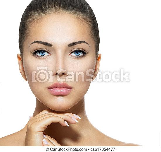 아름다운 여성, 그녀, 아름다움, 얼굴, 만지는 것, portrait., 광천 - csp17054477