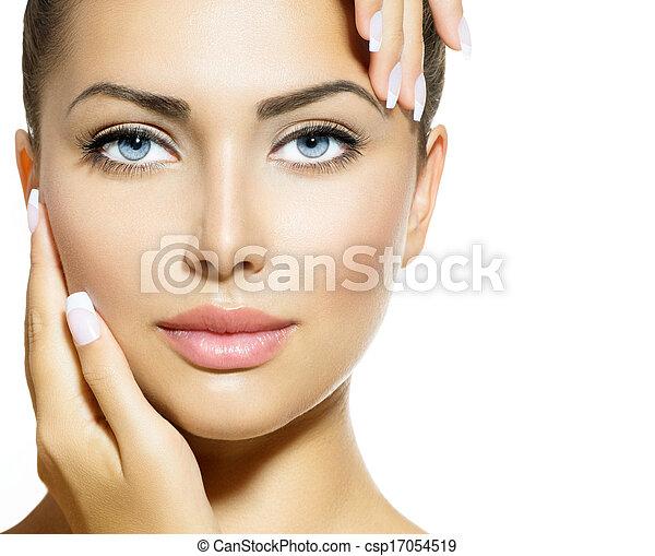 아름다운 여성, 그녀, 아름다움, 얼굴, 만지는 것, portrait., 광천 - csp17054519