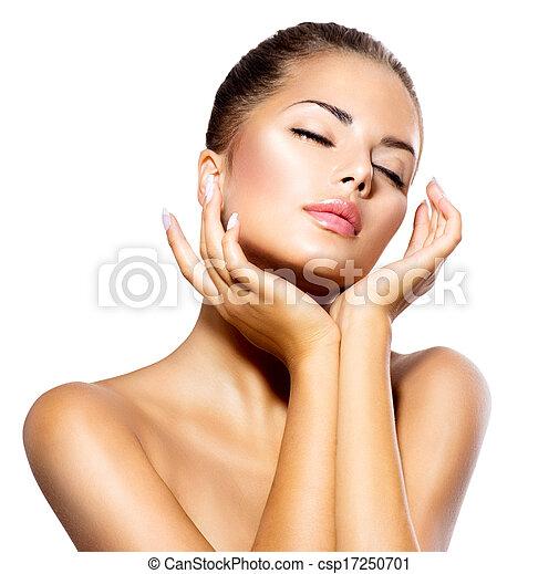아름다운 여성, 그녀, 아름다움, 얼굴, 만지는 것, portrait., 광천, 소녀 - csp17250701
