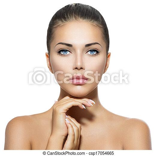 아름다운 여성, 그녀, 아름다움, 얼굴, 만지는 것, portrait., 광천 - csp17054665