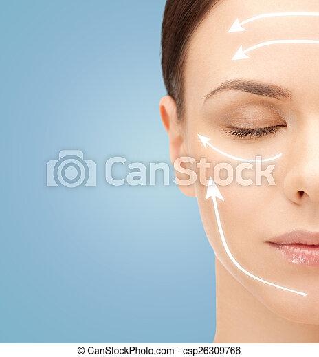 아름다운 여성, 나이 적은 편의, 얼굴, 기호, facelift - csp26309766