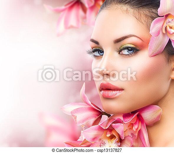 아름다운 여성, 아름다움, 얼굴, flowers., 소녀, 난초 - csp13137827