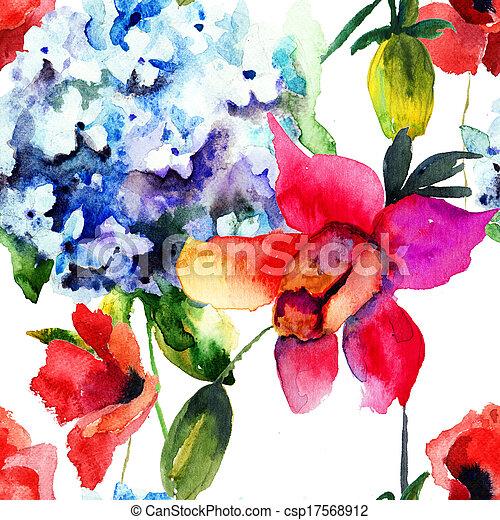 아름다운, 패턴, 수국, seamless, 양귀비, 꽃 - csp17568912