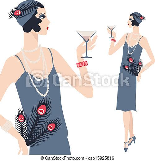 아름다운, 1920s, 나이 적은 편의, retro, 소녀, style. - csp15925816