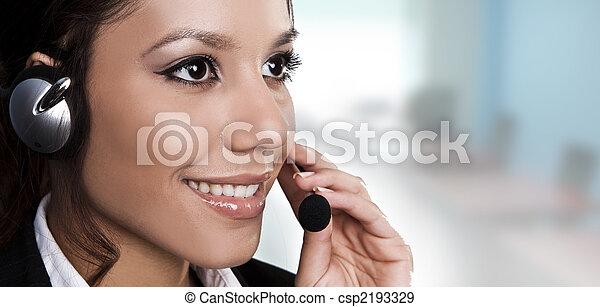 아름다운, helpdesk, 대답하는 것, 고립된, 또는, 조작원, 초상, 선, call., 지지 - csp2193329
