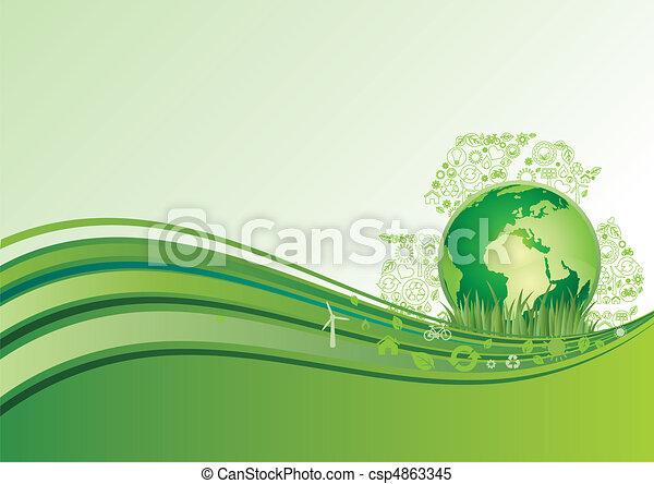 아이콘, 지구, 매, 환경 - csp4863345