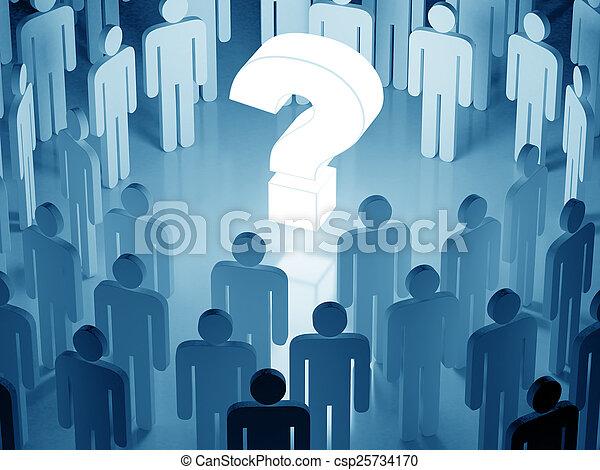 악기의 음조를 맞추다, 군중, 크게, 둘러싸인다, 물음표, 백열하는 것, 인간, (blue - csp25734170