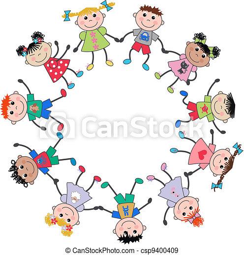 여러 잡다한 인간으로 이루어진, 아이들, 소수 민족의 사람 - csp9400409