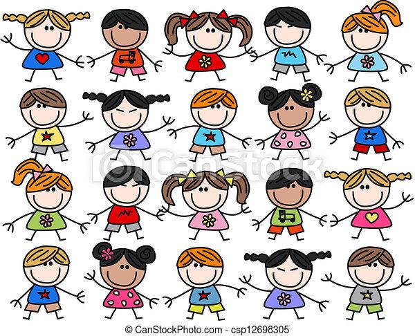 여러 잡다한 인간으로 이루어진, 키드 구두, 아이들, 소수 민족의 사람, 행복하다 - csp12698305
