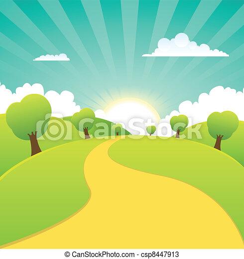여름, 봄, 시골, 은 맛을 낸다, 또는, 조경술을 써서 녹화하다 - csp8447913