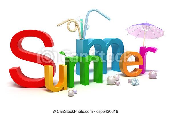 여름, 색채가 풍부한, 낱말, 편지 - csp5430616