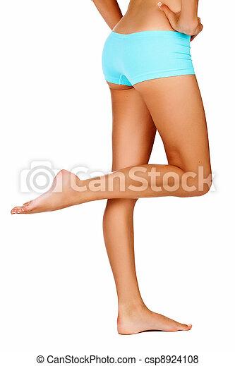 여자, 다리, 무두질되는 - csp8924108