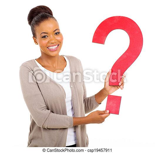 여자, 물음표, 미국 영어, 보유, afro - csp19457911