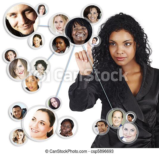 여자 실업가, 미국 영어, african, 네트워크, 친목회 - csp5896693