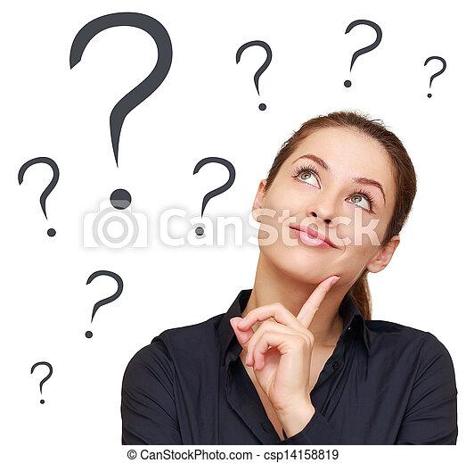 여자, 질문, 사업, 생각, 많은, 위로의, 표, 복합어를 이루어 ...으로 보이는 사람, 배경, 고립된, 백색 - csp14158819
