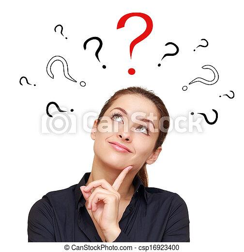 여자, 질문, 생각, 위로의, 표시, 복합어를 이루어 ...으로 보이는 사람, 이상, 기호, 미소, 빨강 - csp16923400