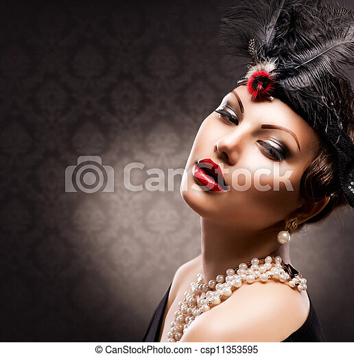 여자, 포도 수확, portrait., retro, 유행에 따라 디자인 하는, 소녀 - csp11353595