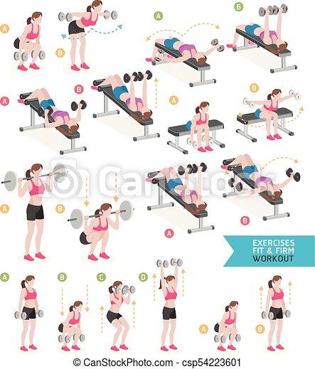 여자, illustration., 호기성 운동, 벡터, 적당, exercises. - csp54223601