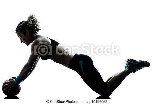 연습, 여자, 운동시키는 것, 공, 적당 - csp10196058