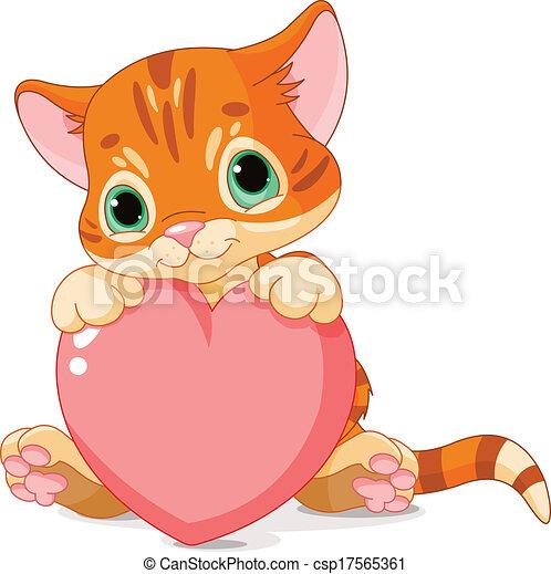 연인 날, 고양이 새끼 - csp17565361