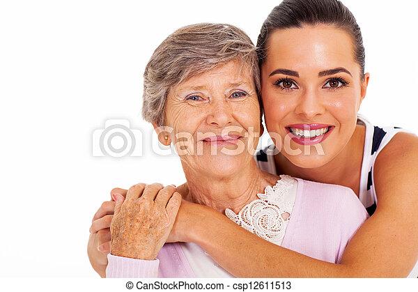연장자, 딸, 성인, 어머니 - csp12611513